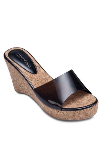 透明帶木zalora 鞋評價質楔型跟鞋, 女鞋, 鞋