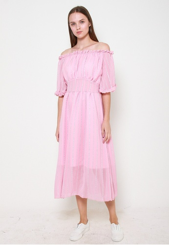 Leline Style pink Megan Offshoulder Dress C5D08AA3A05CC5GS_1