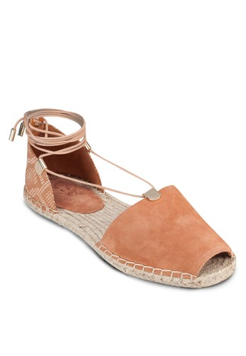Delias 露趾zalora 順豐繞踝麻編鞋, 女鞋, 魚口鞋
