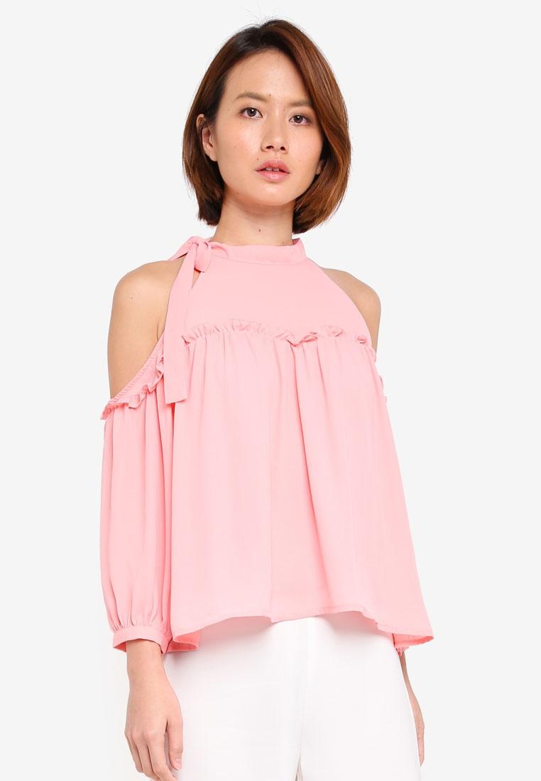 Pink Shoulder Tie KLEEaisons Neck Cold Top qXgBxP5w