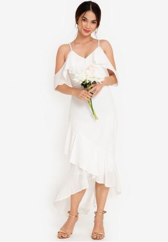 ZALORA OCCASION 白色 Bridesmaid Ruffle Detail Maxi Dress 81243AA0187688GS_1