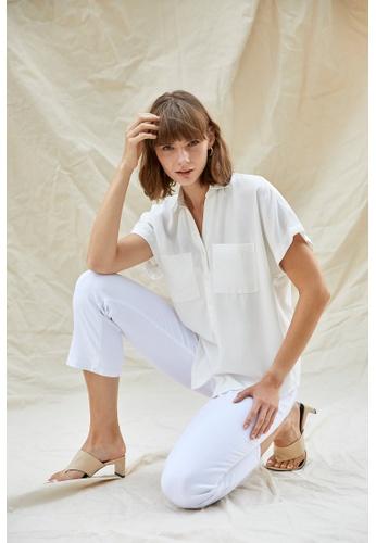 DeFacto beige Woman Woven Top Short Sleeve Shirt DA353AA47B4618GS_1