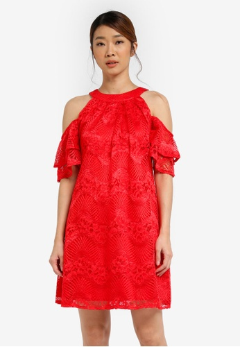 Little Mistress red Cold Shoulder Shift Dress LI976AA0SHREMY_1
