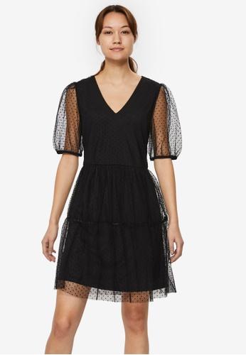 Vero Moda black Lucille 2/4 V-Neck Mesh Dress 7F90DAA1B5DA06GS_1