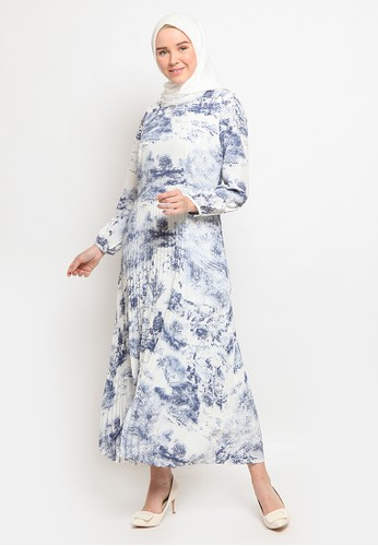 The Executive white Pleated Printed Gamis EE237AA42A81BEGS_1