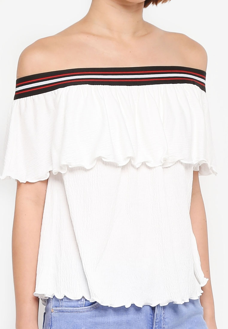 Perkins Striped Bardot Trim Top White Ivory Dorothy RqwH1S00