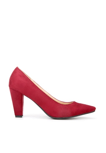 KissXXX red Classic Suede Leather Red Pointed Pump Heels KI688SH2VNBHHK_1