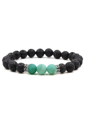YOUNIQ black and green YOUNIQ Green Turquoise Beaded Natural Lava Stone Diffuser Bracelet 12A41AC2FE7EA9GS_1