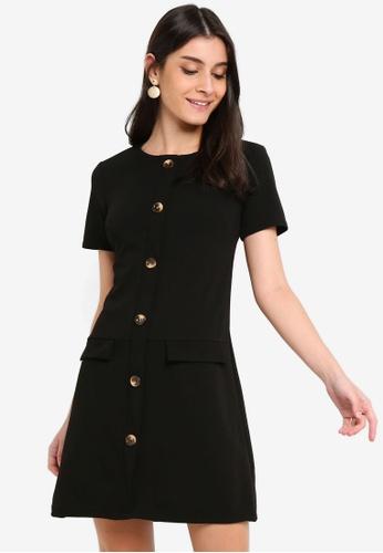 Dorothy Perkins 黑色 口袋短洋裝 35B25AA09CC1B5GS_1
