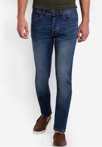 Burton Menswear London 藍色 刷色窄管牛仔褲 BU964AA53NEKMY_1