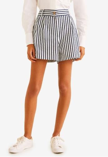 Mango blue and navy Cotton Striped Shorts 6E684AA704C43CGS_1