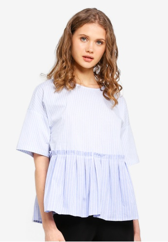 ESPRIT blue Stripe Short Sleeve Blouse BF93AAA9054C66GS_1
