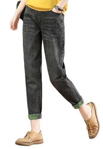 A-IN GIRLS black Elastic Waist Vintage Jeans DFCD8AAA945673GS_1