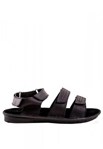 Otto black Velcro Strap Roman Sandals A5C33SH81F4AC6GS_1