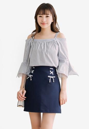 Eyescream blue Striped Cold Shoulder A-Line Skirt Set 78D01AA1D53BAFGS_1