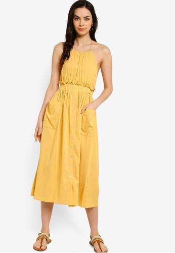Tula Cruz yellow Button Down Halter Neck Midi Dress 6F9E6AA85E795BGS_1