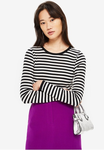 TOPSHOP black Long Sleeve Striped Scallop T-Shirt 19259AA0E4F7E6GS_1