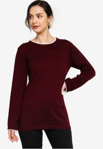 Zalia red Border Lace Round Neck Sweater 8FFA7AA50FB632GS_1