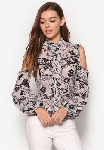 Ashley 印花荷葉飾挖肩長袖襯衫esprit 衣服, 服飾, 上衣