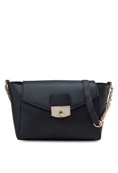 Saffiano Texture Mini Sling Bag with Metal Turn Lock