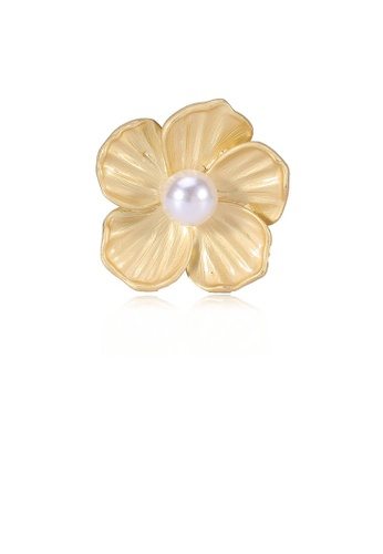 Glamorousky white Fashion Simple Plated Gold Flower Brooch with Imitation Pearls CB107AC6ADADE7GS_1