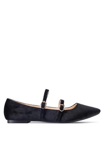 ZALORA 黑色 雙帶尖頭平底鞋 62953SH2C10458GS_1