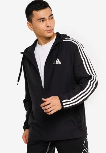 ADIDAS black essentials woven 3-stripes windbreaker DD21BAA0AA0579GS_1