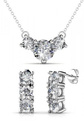 Her Jewellery silver Swarovski® Crystals - Tri Set (18K White Gold Plated) Her Jewellery HE581AC0RADZMY_1