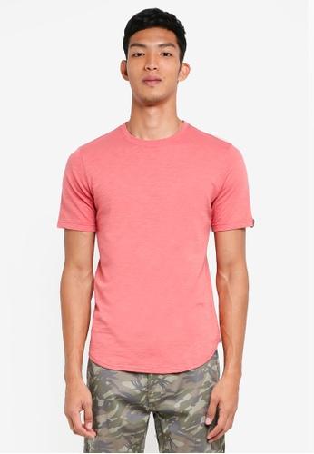 UniqTee pink Curved Hem Plain-Colored T Shirt 5F815AA201938BGS_1