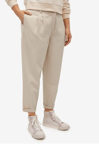 Violeta by MANGO grey Plus Size Slouchy Cotton Trousers 6F82DAABAE924AGS_1