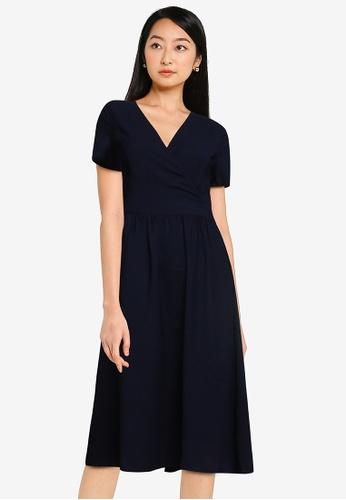 ZALORA BASICS navy Ruched Waist Wrap Dress C7221AA7E13141GS_1