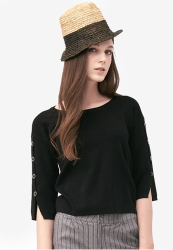 Kodz black Buttoned Sleeves Basic Top B7F7FAAF002700GS_1