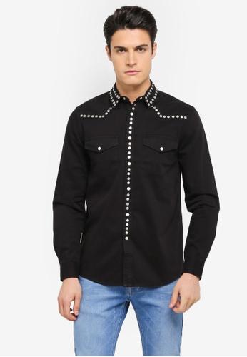 Topman 黑色 休閒鉚釘長袖襯衫 TO413AA0T1IFMY_1