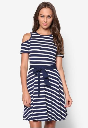 條紋挖肩連身裙, zalora taiwan 時尚購物網服飾, 洋裝