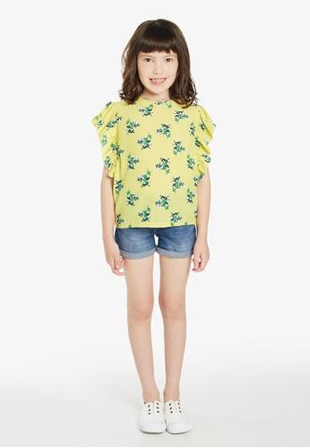 Gen Woo yellow Floral Print Fashion T-shirt By Gen Woo 28B0FKA3F96152GS_1