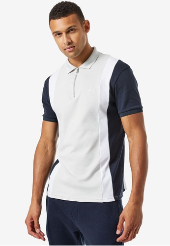 Burton Menswear London navy MB Collection Cut & Sew Polo A7064AA932AAB3GS_1