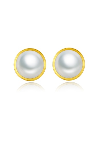 SUNRAIS gold High quality Silver S925 gold round earrings 06826ACBD09472GS_1