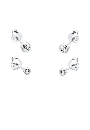 施華洛世奇水晶球 925 純銀耳環組合,esprit服飾 飾品配件, 耳釘