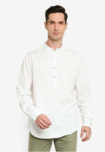 ZALORA BASICS white Oxford Half Placket Shirt CC229AA31137E6GS_1
