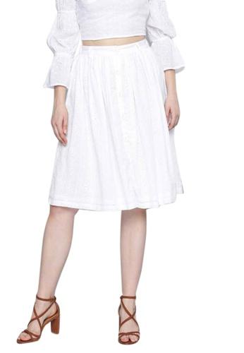 SASSAFRAS white White Schiffli Buttoned Skirt 4F41DAA3053B4FGS_1