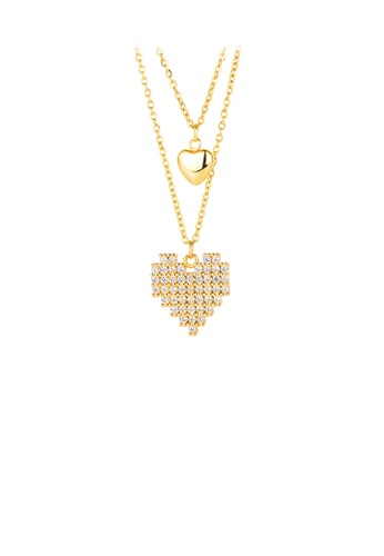 Glamorousky white Simple and Bright Plated Gold Heart-shaped 316L Stainless Steel Pendant with Cubic Zirconia and Double Necklace 4AB4DAC7C82DDFGS_1
