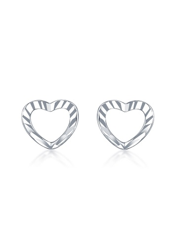 MaBelle silver 14K White Gold Faceted Heart Stud Earrings MA584AC2W734HK_1
