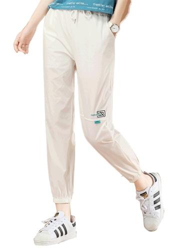 A-IN GIRLS white Elastic Waist Sports Trousers C8044AAEB6EBBBGS_1