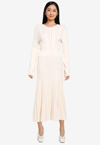 JEANASIS white Pleated Knit Dress F0575AAB9BCD9CGS_1