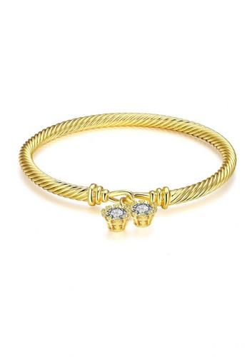 Glamorousky silver Fashion Simple Plated Gold Geometric Texture Cubic Zircon Bangle B8915ACAB64229GS_1