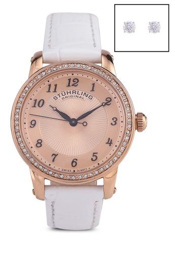Stuhrling Original white and gold Symphony 651 Quartz Classic Watch Set C1CD6AC733D834GS_1