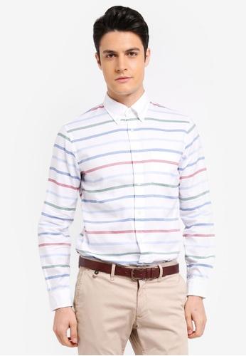 Brooks Brothers white Red Fleece Horizontal Multi Stripe Breton Stripe Shirt 67FABAA602FEB2GS_1