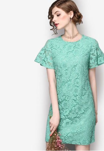 Sunnydaysweety green Fashion and Comfort Lace Short Sleeve One-piece Dress 95222AA28DB252GS_1