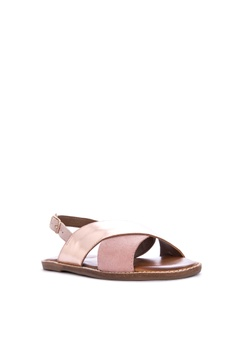 99c906b2d427 40% OFF Steve Madden Shaker Leather Solid Tone Metallic Flat Sandals Php  4