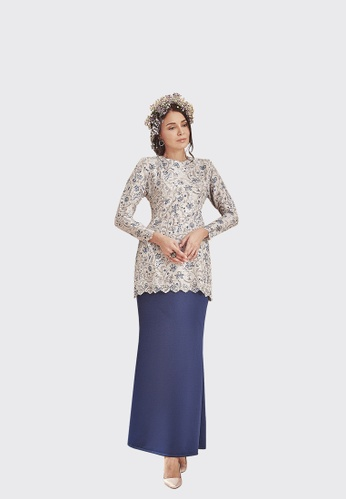 Lisa Modern Kurung from Nadjwazo by LadyQomash in grey and white and blue and beige and navy_1